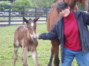 Kym with Angus Hall foal