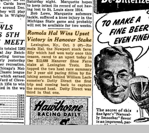 Article on Romola Hal win in Chicago Daily Tribune 4 Oct 1949